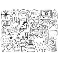 Sketch cute elements vector image vector image