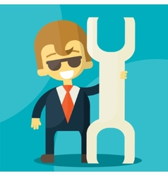 smiling cartoon businessman with a huge wrench in vector image
