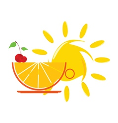 sun and orange and cherry vector image vector image