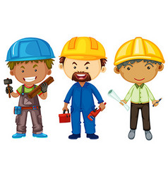 Three men with different jobs vector image