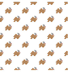 Trowel and brick wall pattern seamless vector