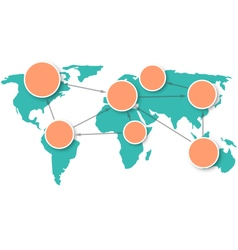 World map with circle information marks isolated vector
