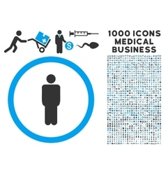 Man icon with 1000 medical business pictograms vector