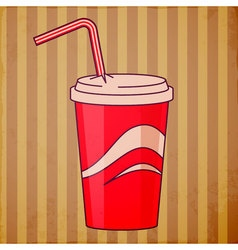 Red disposable cup vector