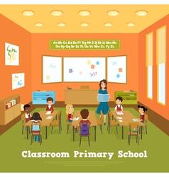 Primary school classroom template vector