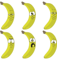 Emotion yellow banana set vector