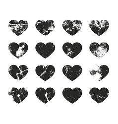 hearts grunge label retro frames for emblems vector image