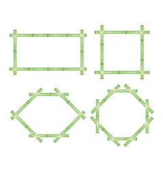 wooden frame of green bamboo sticks set vector image