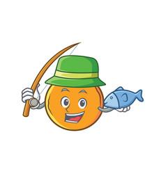 Fishing orange fruit cartoon character vector