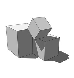 3d image - simple isolated scattered box cubes vector
