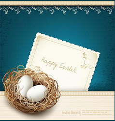easter vintage background with a nest and eggss vector image