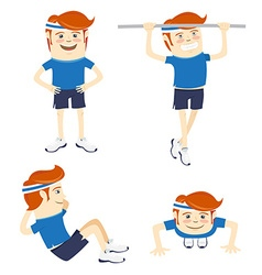 Set of hipster funny sportsmen doing exercises vector