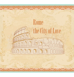 Colosseum in rome - vintage card vector