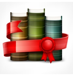 Stack of books with ribbon vector