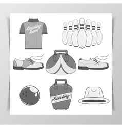 Set of bowling vintage design elements vector