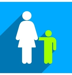 Mother with son flat square icon with long shadow vector