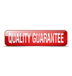 Quality guarantee red square 3d realistic isolated vector