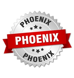 Phoenix round silver badge with red ribbon vector