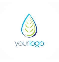 bio organic water drop logo vector image