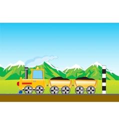 Cargo locomotive in mountain vector