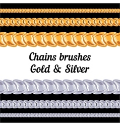 Chains metal brushes - gold and silver vector