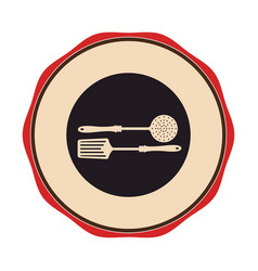 Circular emblem with frying spoon set vector