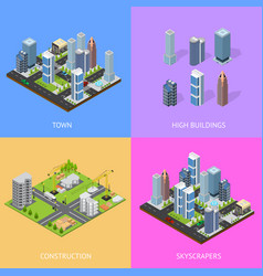 city landscape construction building poster card vector image vector image