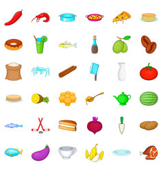 Cookery icons set cartoon style vector