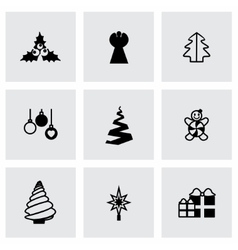Cristmas trees icon set vector image