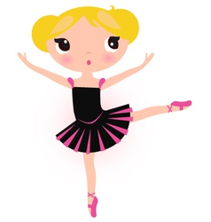 Cute ballerina blond girl isolated on white vector