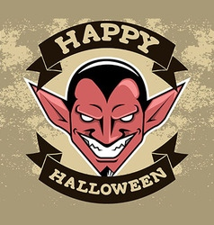 Devil Head Halloween Badge vector image