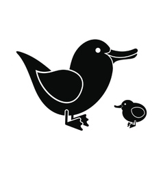 Ducklings black icon vector