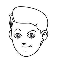 face boy young happy expression line vector image vector image