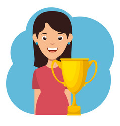 girl hold gold trophy cup vector image