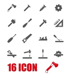 Grey carpentry icon set vector