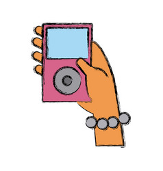 hand holding music player vector image