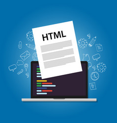 Html hyper text markup language web programming vector