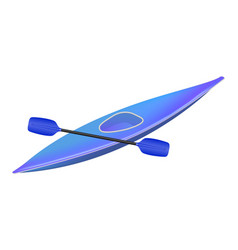 Kayak with paddle in blue design vector