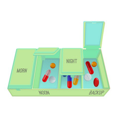 Pills and capsules in special container with vector