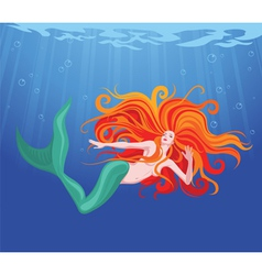 red-haired mermaid vector image vector image