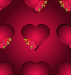 Seamless texture hearts with three roses vector