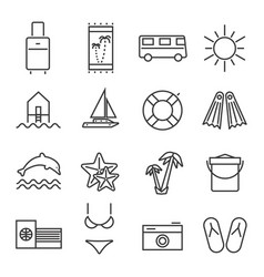 Summer holidays travel icons set vector