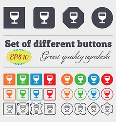 Wine glass alcohol drink icon sign big set of vector