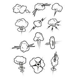 Cloud icons in cartoon comic book style vector image