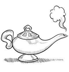 doodle genie lamp normal vector image