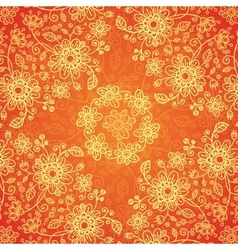 Orange doodle flowers ornate seamless pattern vector