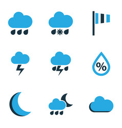 climate colored icons set collection of lightning vector image
