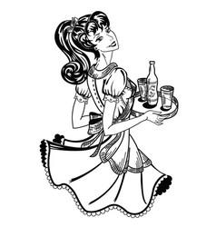 Retro waitress brings beer order vector