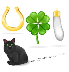 Luck symbols and black cat vector