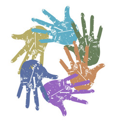 color grunge hand around vector image
